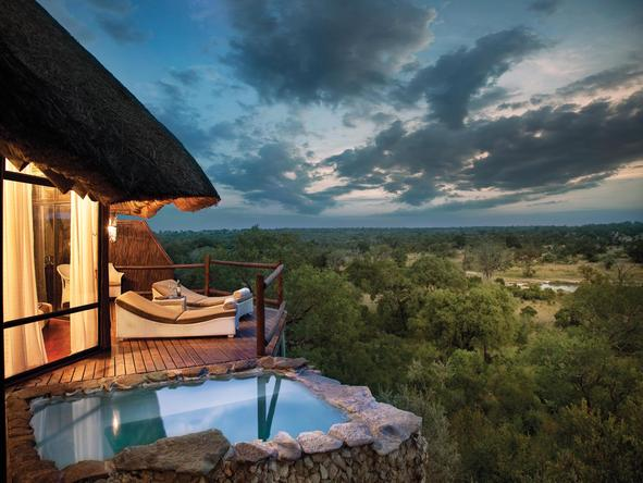 Leopard Hills Private Game Reserve - bedroom and private deck - suite exterior