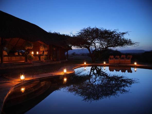 Lewa Safari Camp - Pool at night