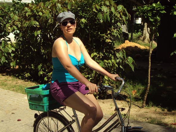 Liesel van Zyl - enjoying a leisurely bike ride on Mauritius