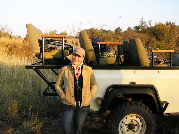 Liesel van Zyl - enjoying a chilly winter morning safari!