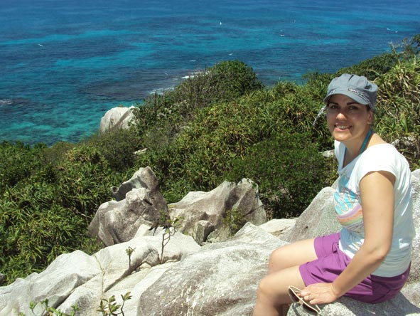 Liesel van Zyl - hiking the rocky outcrops of the Seychelles islands