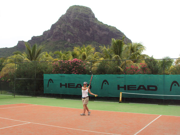 Liesel van Zyl - enjoying a round of tennis on the Le Morne Peninsula, Mauritius