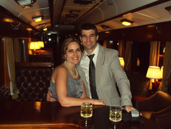 Liesel van Zyl - with husband Mark on the luxurious Rovos Rail steam train