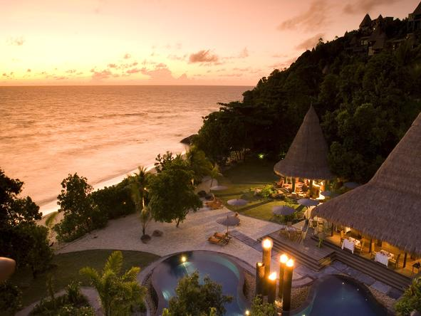 Maia Luxury Resort & Spa - villas at sunset
