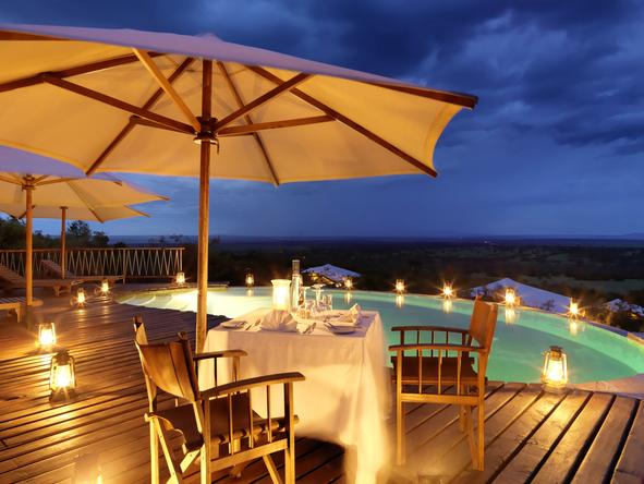 Mara Bushtops Camp - dinner on pool patio