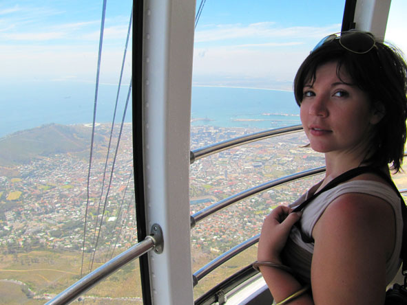 Mary Keet - heading up Table Mountain in the cable car