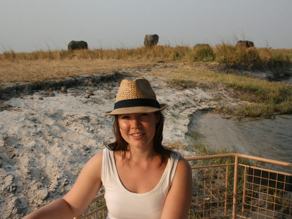 Mary Keet - on a boat safari on the Chobe River
