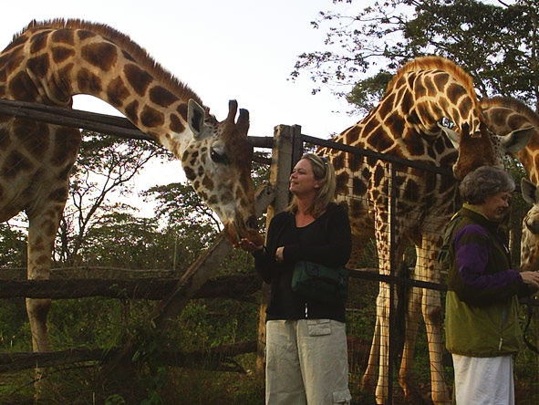 Maureen Stover - meeting the locals at Giraffe Centre, Nairobi
