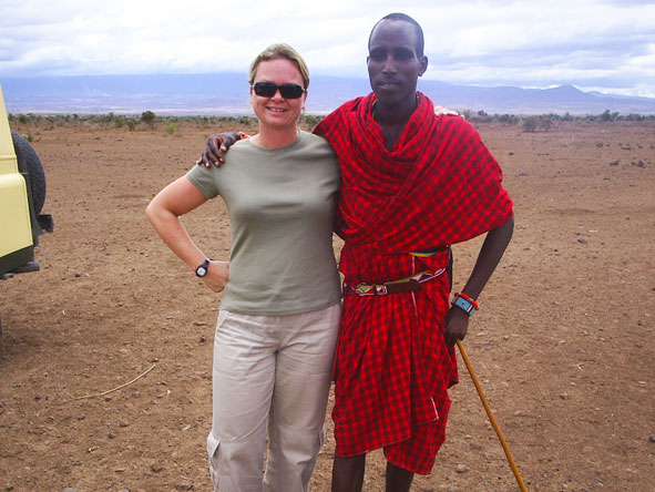 Maureen Stover - making friends with the Maasai in Tanzania