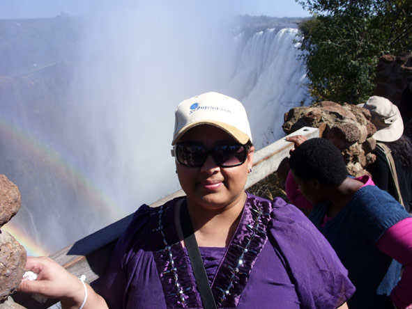 Nazlee Ally - getting soaked at Victoria Falls