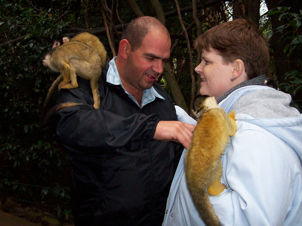Ramona Rubach - interacting with lemurs at Monkey Land on the Garden Route