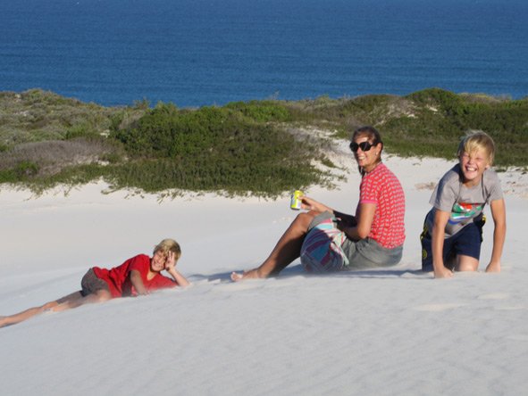 Rikke Williams - having fun with her kids on the dunes of Arniston on the West Coast