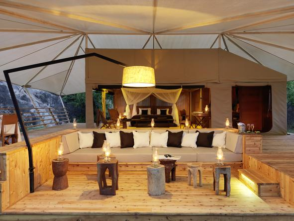 Serengeti Bushtops Luxury Tented Camp - private deck