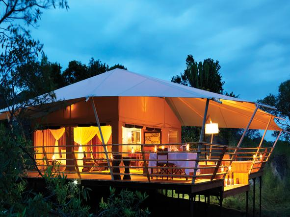 Serengeti Bushtops Luxury Tented Camp - exterior at night