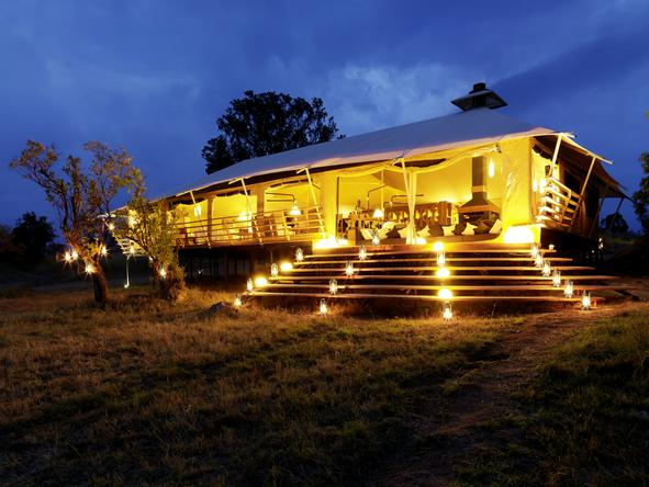 Serengeti Bushtops Luxury Tented Camp - lodge at night