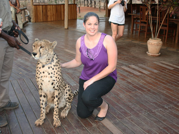 Shelley Hess - saying hello to Sylvester the cheetah at Vic Falls