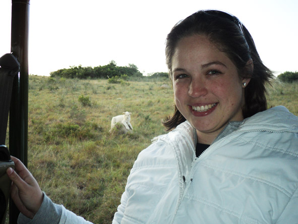 Shelley Hess - spotting a white lion on safari!