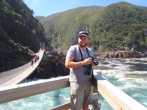 Stuart Parker - getting to grips with his camera on the swing bridge at Storms River