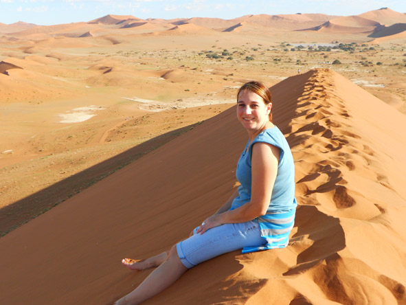 Tracy Payne - looking pretty excited to have scaled Dune 45 at Sossusvlei!