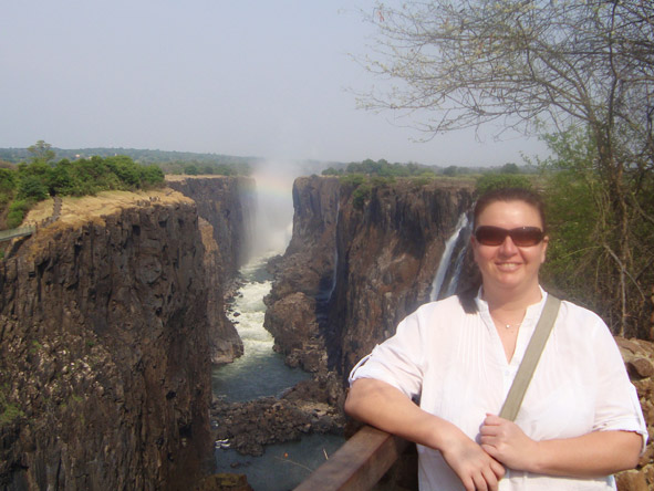 Veruschka Nel - soaking up the spray of Victoria Falls - the 'Smoke that Thunders'